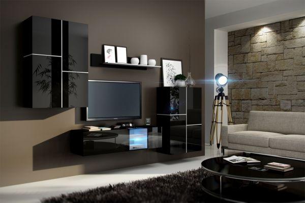 Wohnwand Schrankwand 4 tlg - BOX - Schwarz HGL mit LED-Beleuchtung