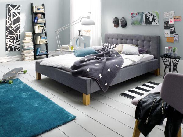 Polsterbett Bett Doppelbett - LIA -140x200 cm Stoffbezug Grau
