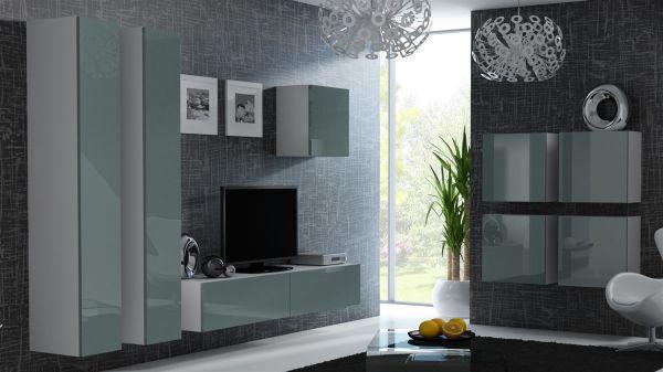 Mediawand Wohnwand 8 tlg - MyMix 3 - Weiss / Grau Hochglanz
