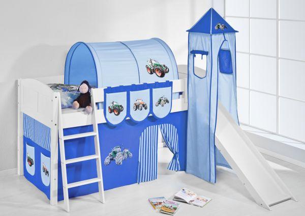 Spielbett mit Rutsche,Turm, Vorhang -LANDI/S -Trecker Blau-Kiefer Weiss