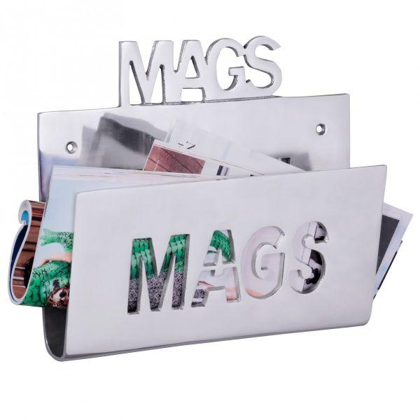 Deko Magazinhalter MAGS für die Wand aus Aluminium Farbe Silber