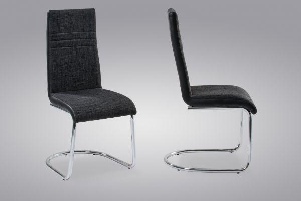 Esszimmerstühle Stühle Freischwinger 4er Set - TIGO - Webstoff Schwarz