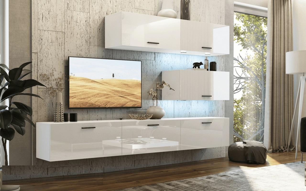 mediawand wohnwand 6 tlg bedox 5 weiss hochglanz inkl led fun m bel. Black Bedroom Furniture Sets. Home Design Ideas