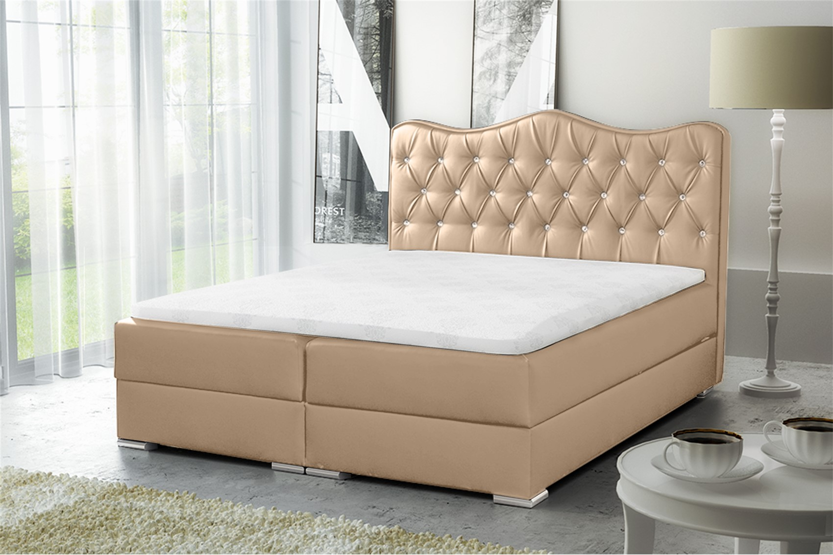 boxspringbett schlafzimmerbett sultan kunstleder creme. Black Bedroom Furniture Sets. Home Design Ideas