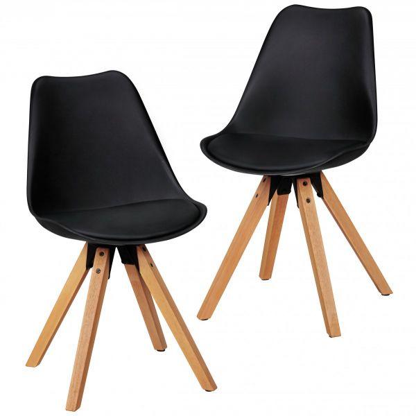Esszimmerstühle Stühle Vierfußstuhl 2er-Set LEVI Schwarz /Rubberwood