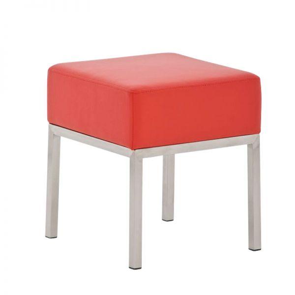 Sitzhocker - LONI 2 - Hocker Sessel Kunstleder Rot 40x40 cm