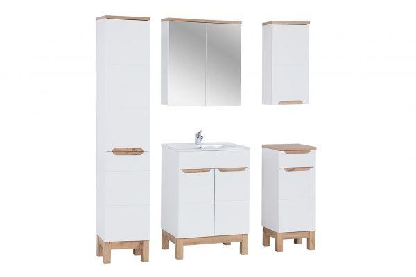 Badmöbel Set 5-tlg Badezimmerset DEVI Weiss HGL inkl.Waschtisch 60 cm