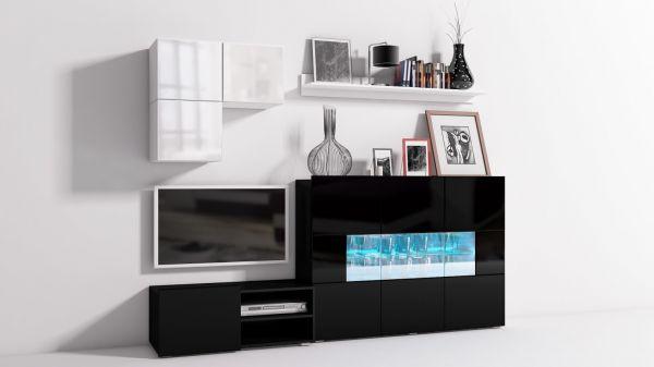 Mediawand Wohnwand 6 tlg - Konzept 30 - Schwarz/ Weiss Hochglanz +LED