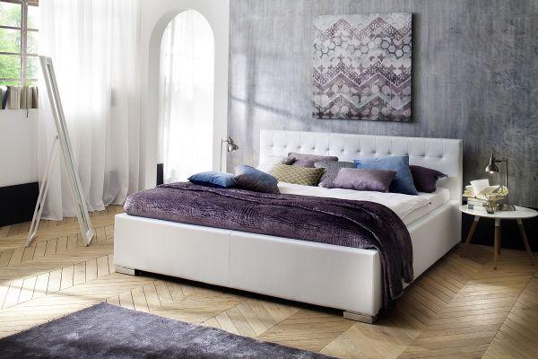 Polsterbett Bett Doppelbett Tagesbett - BONI - 200x200 cm Weiss