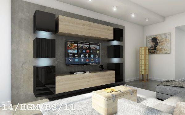 Mediawand Wohnwand 10 tlg - Konzept 40 Nr.3 - Sonoma matt/ Schwarz HGL