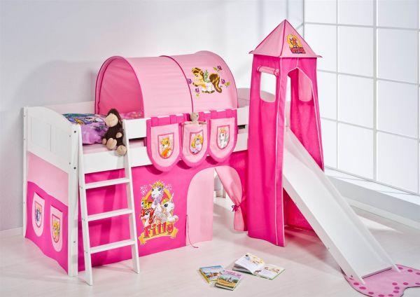 Spielbett mit Rutsche,Turm, Vorhang -LANDI/S - Filly - Kiefer Weiss