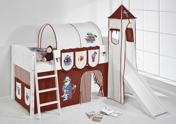 Spielbett mit Rutsche,Turm, Vorhang -LANDI/S -Pirat Braun-Kiefer Weiss