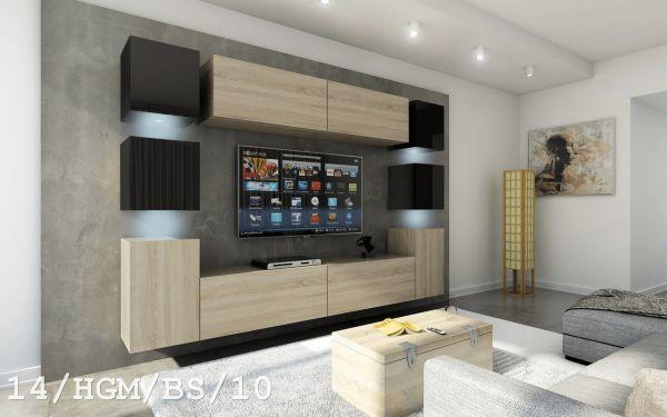 Mediawand Wohnwand 10 tlg - Konzept 40 - Sonoma matt / Schwarz HGL