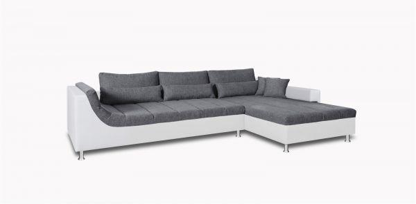 Couchgarnitur NANTES Ottomane Rechts Weiss/Grau