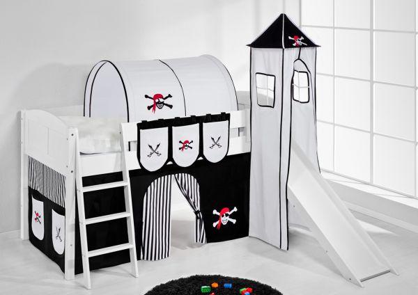 Spielbett mit Rutsche,Turm, Vorhang -LANDI/S -Pirat Schwarz-Kiefer Weiss