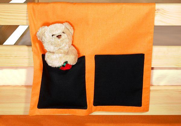 """Stoftasche Seitentasche neues Design """"Orange-Schwarz""""für Hochbet Spielbett"""