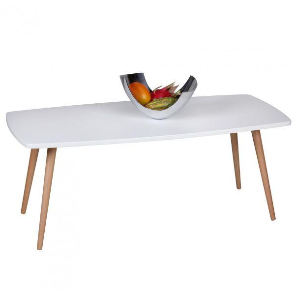 Couchtisch Beistelltisch - DAGNY - 110x50 cm Weiss matt / Buche massiv