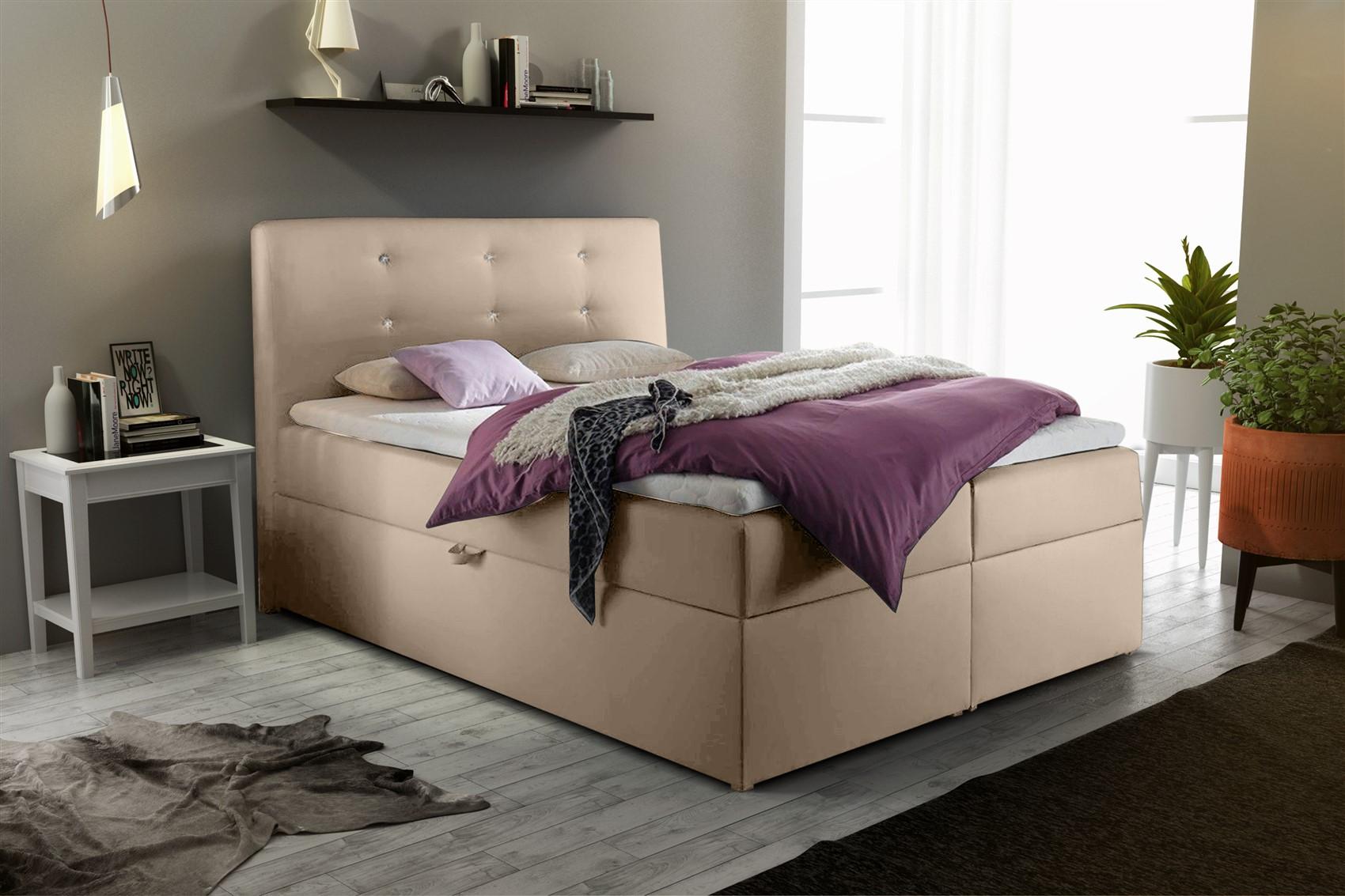 boxspringbett schlafzimmerbett monza kunstleder creme 140x200 cm fun m bel. Black Bedroom Furniture Sets. Home Design Ideas