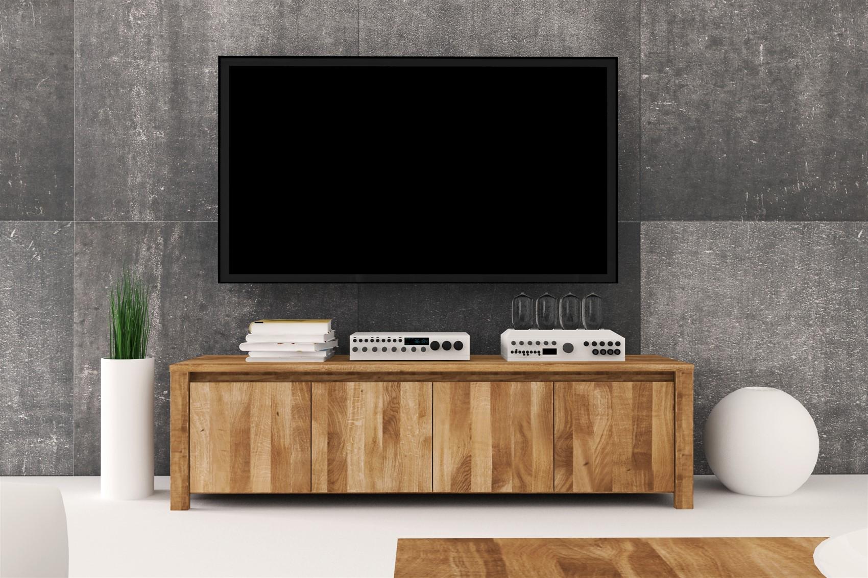 Lowboard Tv Schrank Maison Wildeiche Massiv Geolt 150x43x45 Cm
