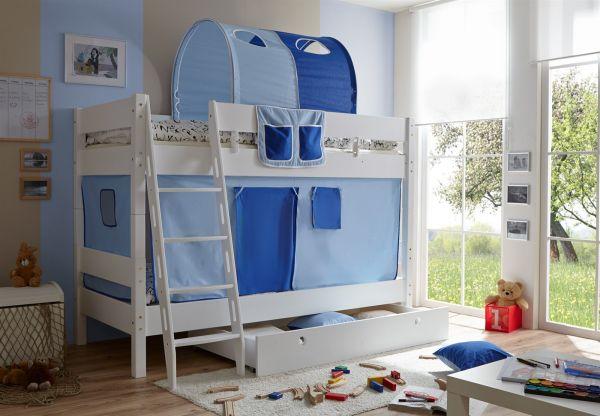 Etagenbett Buche Massiv Weiss : Etagenbett hochbett colin buche massiv weiss inkl.vorhang blau fun
