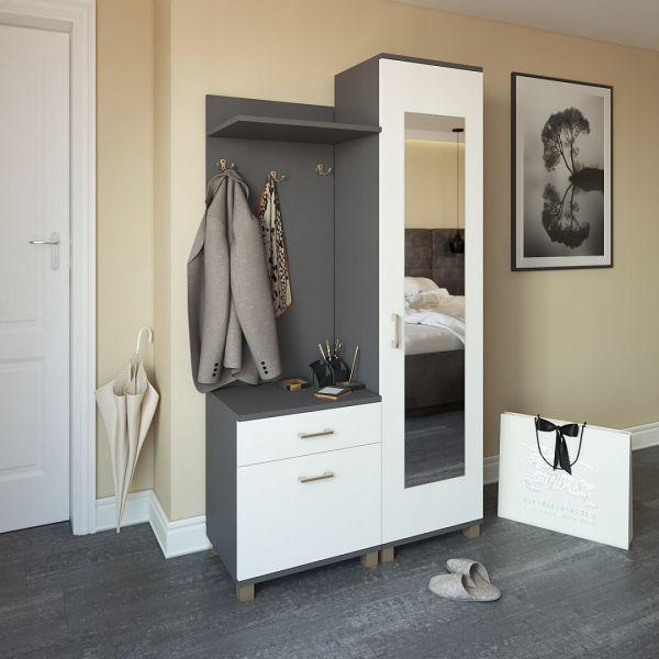 Garderobe Komplett Set Dielengarderobe DORBI in Anthrazit / Weiss matt