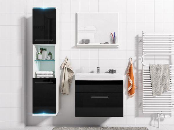 Badmöbel Set 4-Tlg Weiss / Schwarz HGL TOPI inkl.Waschtisch inkl.LED