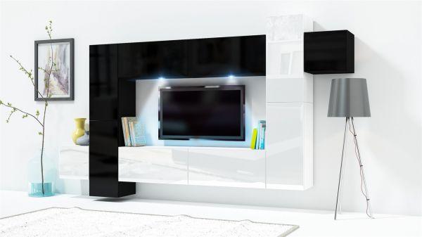 Mediawand Wohnwand 10 tlg KONZEPT 33 Weiss/Schwarz HGL mit LED-Beleuchtung