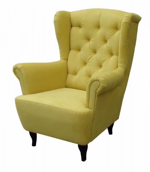 Sessel Ohrensessel Wohnzimmersessel - Orlando - Webstoff Gelb