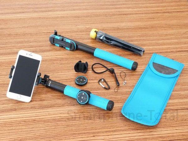 Momax Selfie Hero 150cm - Bluetooth   App + Zubehör, blau
