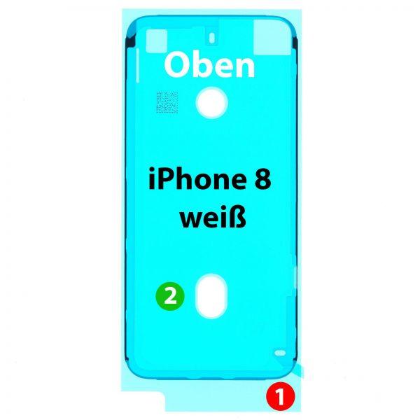 iPhone 8 Display => Rahmen Kleber, weiß
