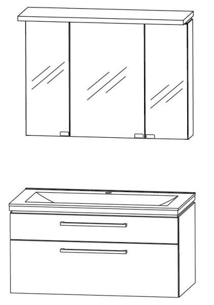 Puris Cool Line Badmöbel Set 92 cm breit - Spiegelschrank inkl. Gesimsboden mit Beleuchtung