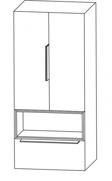Puris Aspekt Bad-Mittelschrank - mit 2 Drehtüren / Einschubregal und Ablageplatte