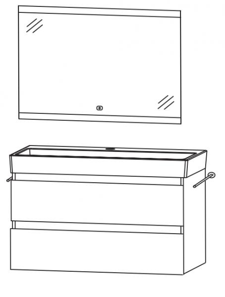 Puris 4Landa - Badmöbel Set 81 cm / mit Flächenspiegel