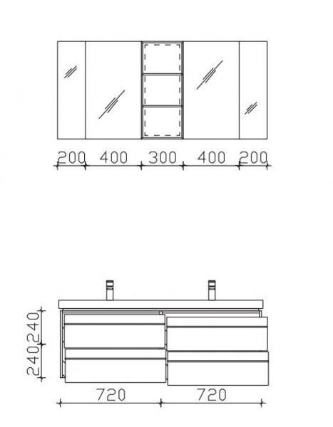 Pelipal Balto Badmöbel Set 148 cm breit – Set 3.5