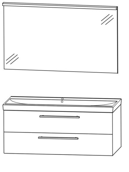 Puris Protection1 - Badmöbelset 4 - 100 cm / mit Flächenspiegel