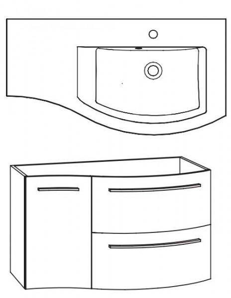Marlin Bad 3280 Waschtisch mit Unterschrank 90 cm / Waschtisch rechts - Sonderpreis - Sofort lieferb
