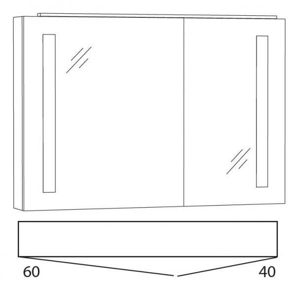Marlin Bad 3130 - Azure Spiegelschrank 100 cm breit SFLS10L / SFLS10R