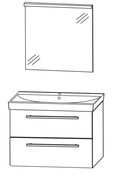 Puris Protection1 - Badmöbelset 2 - 70 cm / mit Flächenspiegel