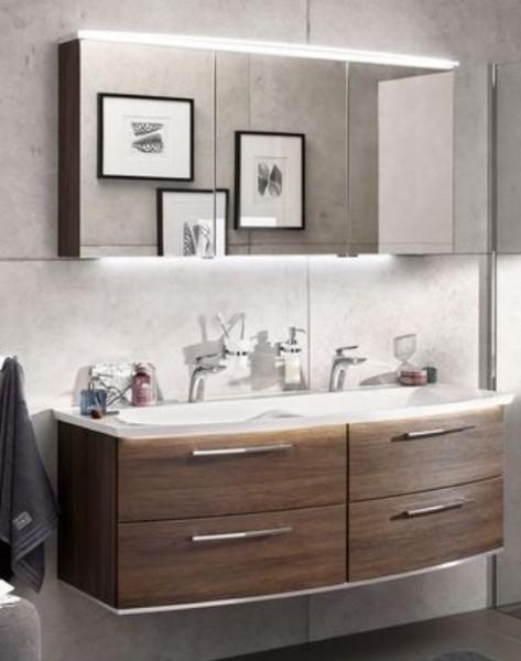 b.bright - Badmöbel-Set 140 cm breit mit Doppelwaschtisch und Spiegelschrank / runde Form