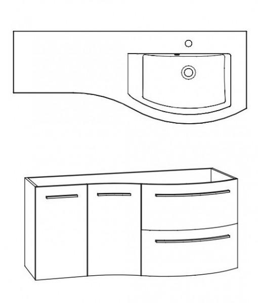 Marlin Bad 3280 Waschtisch mit Unterschrank 120 cm / Waschtisch rechts - Variante 2