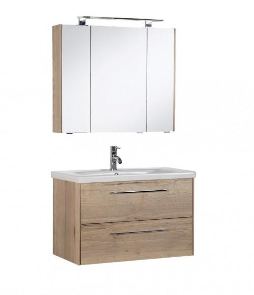Marlin Bad 3400 - Kombination mit Spiegelschrank - 80 cm breit