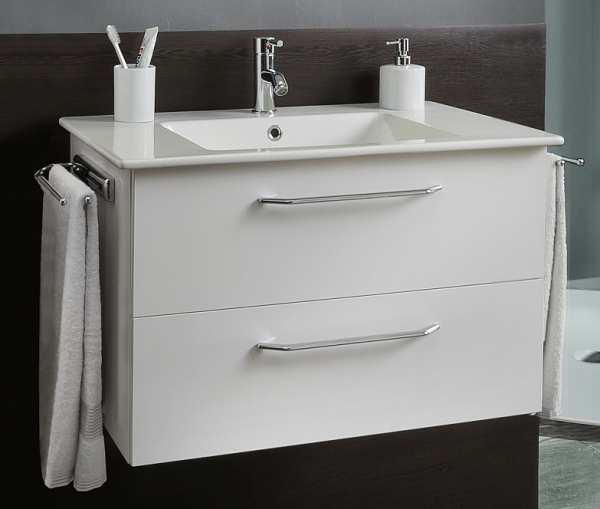 Marlin Bad 3030 - Christall Waschtisch mit Unterschrank 80 cm breit, 2 Auszüge