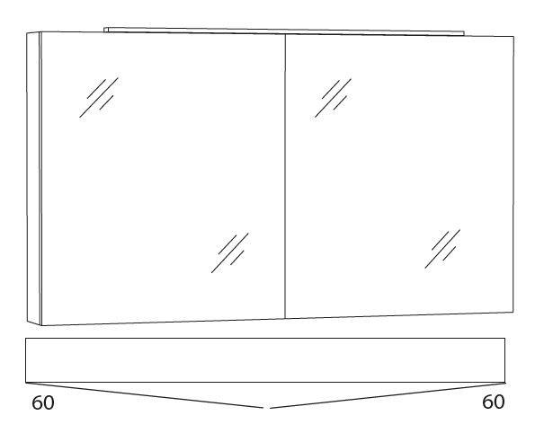 Marlin Bad 3130 - Azure Spiegelschrank 120 cm breit SFLA12
