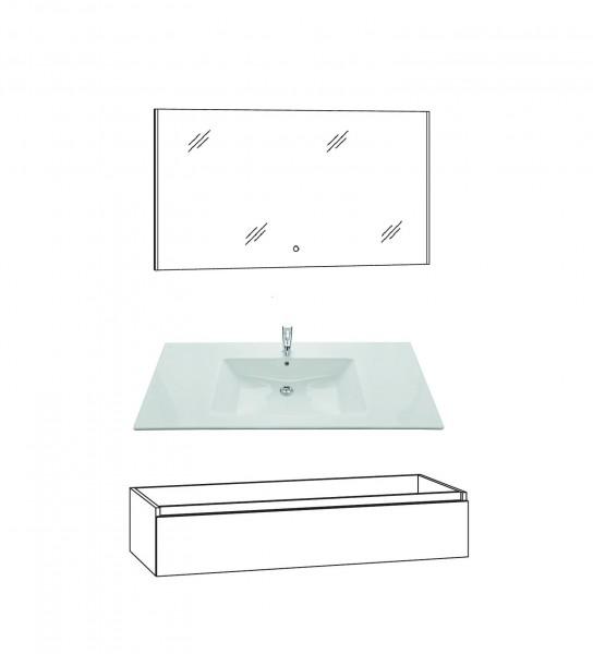 Marlin Bad 3290 Badmöbel Set 120 cm breit, Spiegel, Unterschrank variabel
