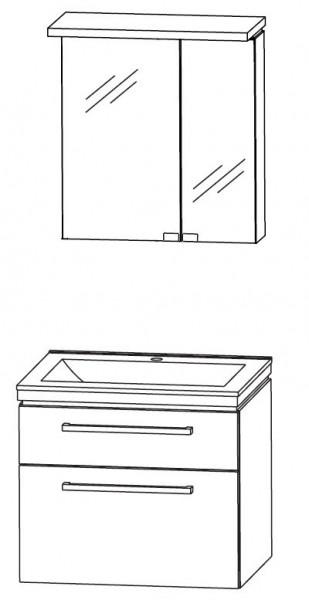 Puris Cool Line Badmöbel Set 62 cm - Spiegelschrank mit Gesimsboden inkl. LED-Beleuchtung