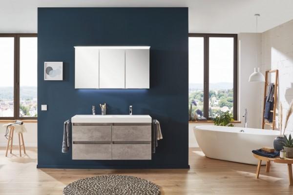 Puris 4Landa - Badmöbel Set 122 cm / mit Doppelwaschtisch und Spiegelschrank