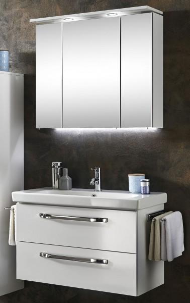 Marlin Bad 3060 Badmöbel Set 85 cm breit – Spiegelschrank mit Oberboden  inkl. LED Beleuchtung