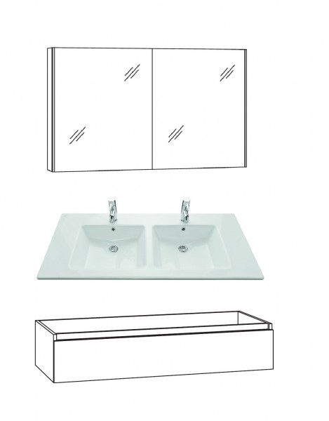 Marlin Bad 3290 Badmöbel Set 120 cm breit, Doppelbecken,Unterschrank variabel - Set 1