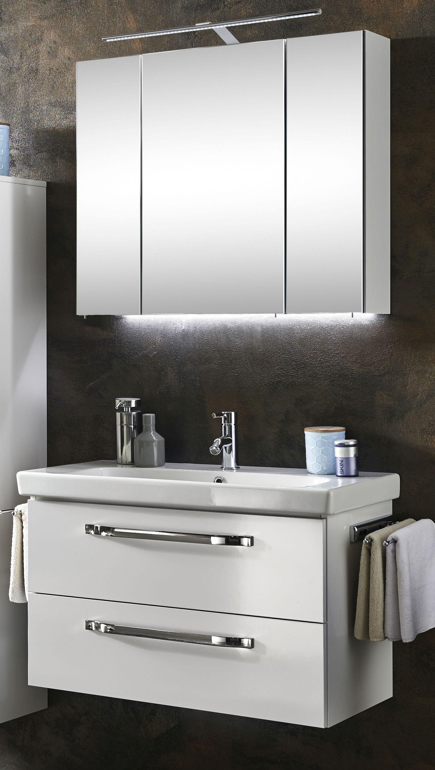 Marlin Bad 20 Badmöbel Set 20 cm breit – Spiegelschrank mit LED  Beleuchtung