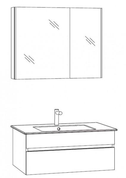 Marlin Bad 3290 Badmöbel Set 80 cm breit, mit Spiegelschrank - Variante 2